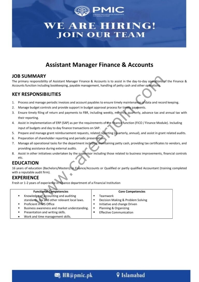 Pakistan Microfinance Investment Company Ltd PMIC Jobs Assistant Manager Finance & Accounts