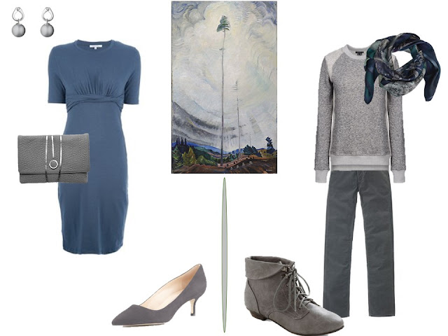 slate blue dress and grey sweater and pants