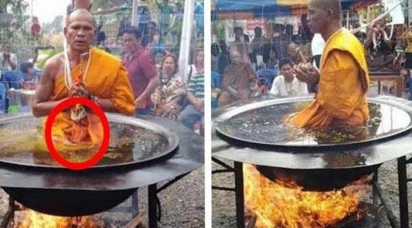 """TERUNGKAP! Lelaki Thailand Ini Duduk Tenang Di Dalam Kuali Berisi """"Minyak Mendidih"""", Tak Disangka Kesaktiannya Itu Hanya """"Tipuan Sains"""" Belaka Dan Amat Menakjubkan. Sebenarnya Minyak Itu Adalah.."""