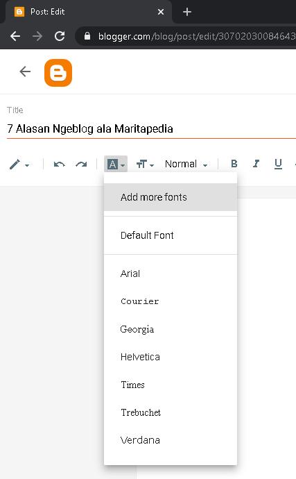 pilihan tipe font di blogspot