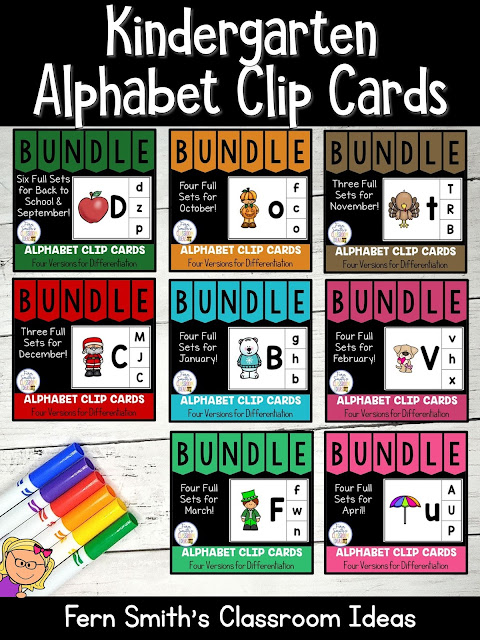 You can click on the link below to arrive at my TpT store already sorted for the grade level items you want for your class. Seasonal Alphabet Clip Cards for your Pre-K, Kindergarten, and First Grade Students. #FernSmithsClassroomIdeas