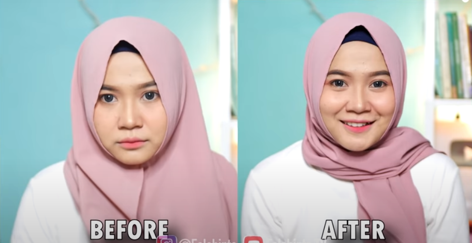 foto wanita cantik before after memakai kerudung jilbab