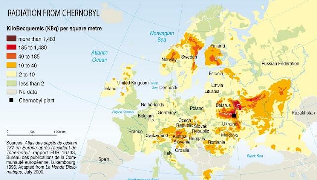 チェルノブイリ原発事故による放射能汚染マップ