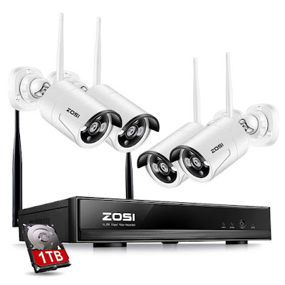 ZOSI Wireless Security Cameras System, 4CH 1080P HD Network IP NVR with 1TB Hard Drive and (4) HD 1.3MP 960P Wireless Weatherproof Indoor Outdoor Surveillance Cameras with 100ft Night vision