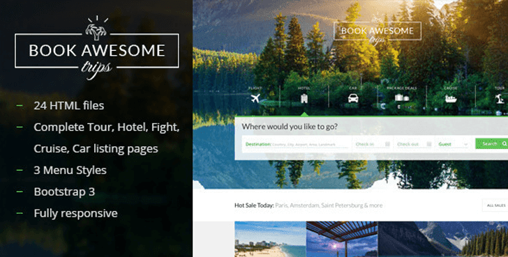 Book Awesome Trip - Travel Booking Site HTML Template For Free