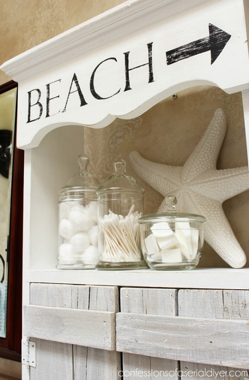 Painted Beach Sign on Cabinet