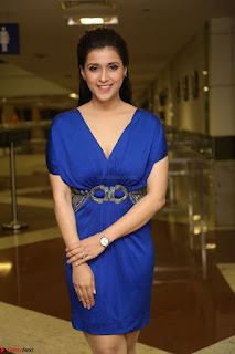 Mannara Chopra in Short Blue Dress at Rogue Movie Teaser Launch 1st March 2017 108.JPG