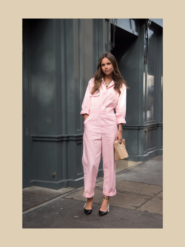 florrie thomas, and finally, boilersuit, pink, glossier, uniform, street style