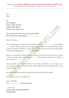sample letter to bank for ad code