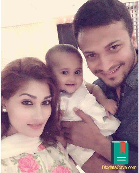 This picture of Shakib Al Hasan was taken in Eid Ul Azha 2016 with his wife and daughter