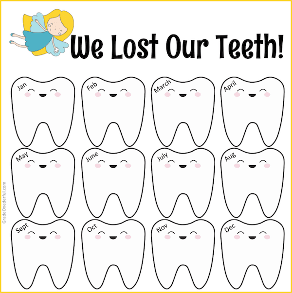 I have 3 cute lost teeth freebies for you. No strings attached. You'll get a Lost Teeth year-long chart, a Tooth Graph and also a large clip art tooth.
