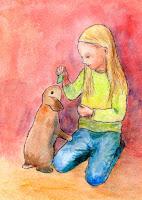 Postikorttikuvitus tytöstä syöttämässä pupua / Postcard illustration of a girl feeding a bunny