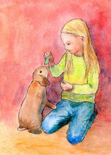 Tyttö ja pupu  -postikortti