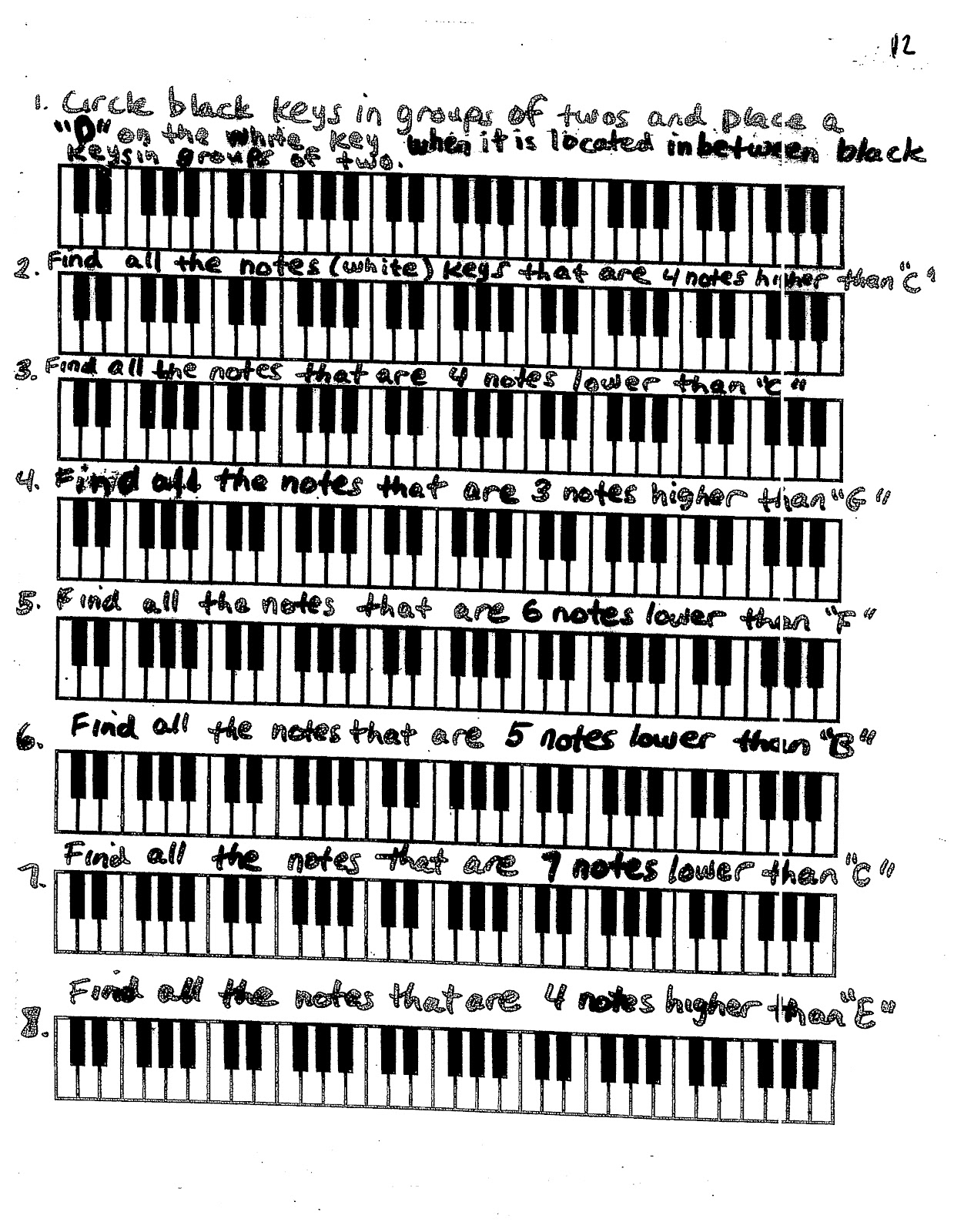 Miss Jacobson S Music Theory 2 Musical Alphabet On The Keyboard White Key Identification