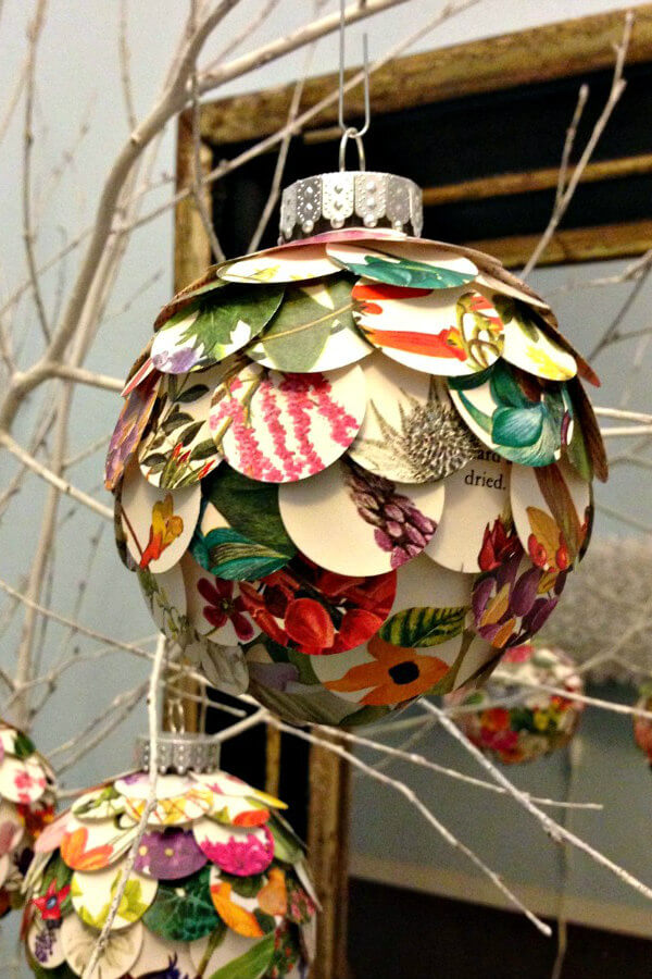 Layered Floral Paper Circles Artichoke Ornament