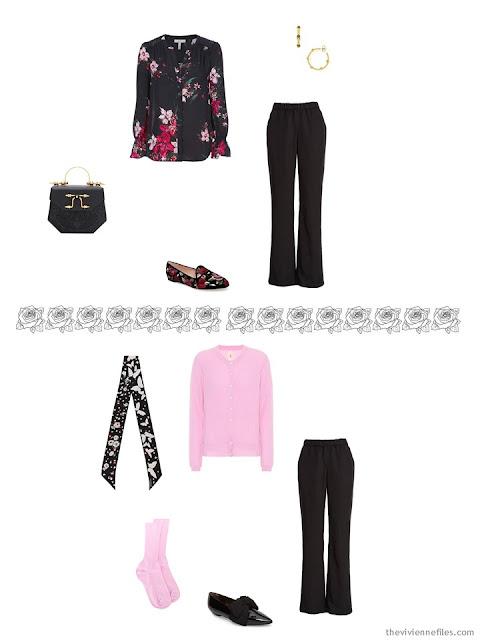 2 ways to wear black dress pants from a pretty travel capsule wardrobe