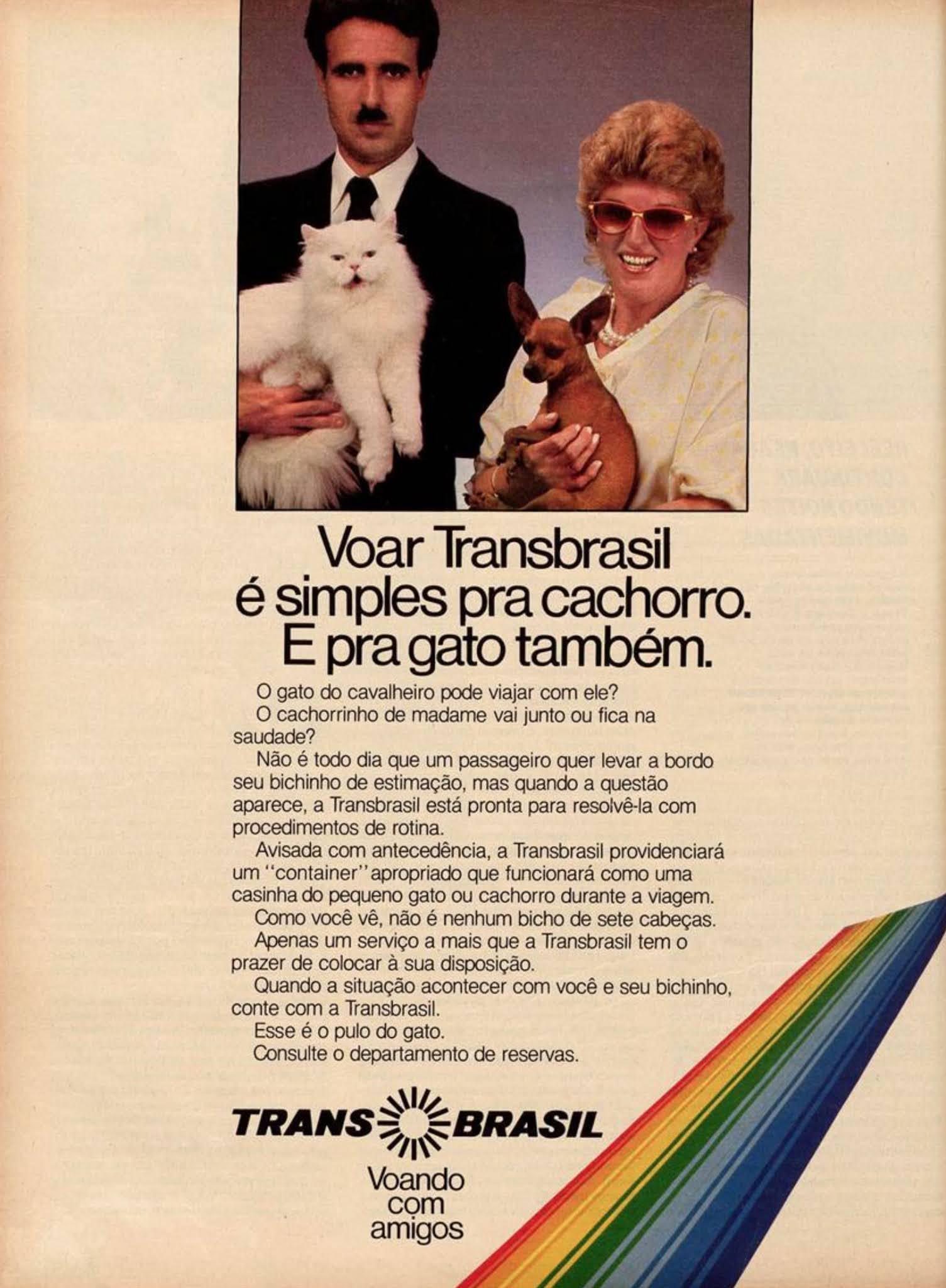 Propaganda antiga da Transbrasil ofertando serviço de transporte de animais domésticos durante os voos