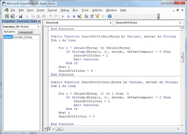 Function tìm vị trí đầu tiên và cuối cùng của giá trị cho trong column