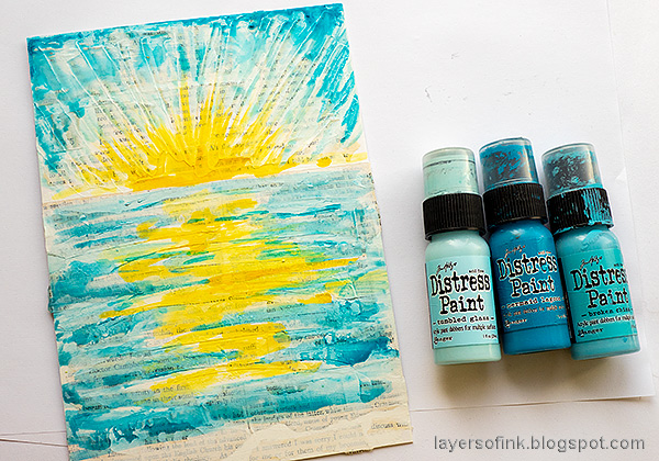 Layers of ink - Sunny Ocean and Beach Mixed Media Scene Tutorial by Anna-Karin Evaldsson. Paint the sky and the sea.