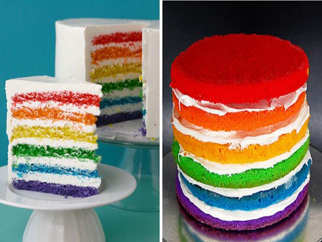 Ideias de bolo arco-íris para festas