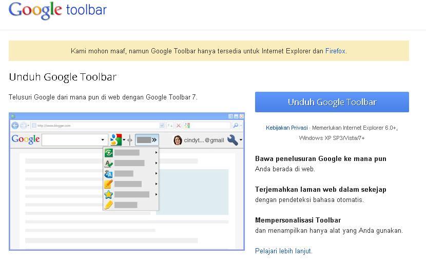 installez google toolbar sur mac