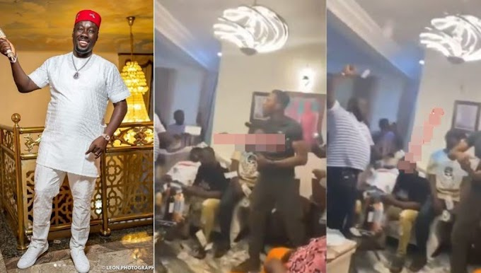 Moment guests at Obi Cubana's mother's burial stoned each other with cash (Video)