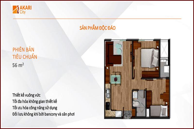 Thiết kế căn hộ 56m2 Akari City