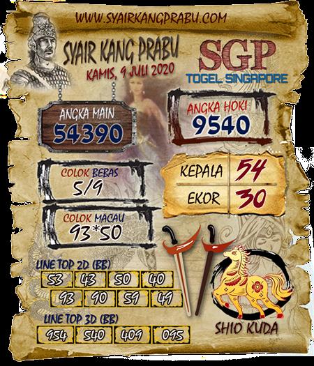 Syair Kang Prabu SGP Singapura Kamis 09 Juli 2020