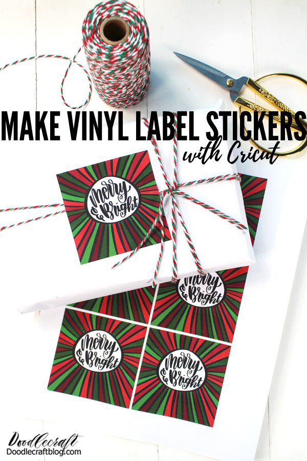 Use Cricut Printable vinyl and make the perfect vinyl label tags for gifts. These aren't paper stickers, they are vinyl...so they are tough! They work great over layers of twine or even on a package you are sending through the mail. They are sure to make the holiday packages merry and bright!