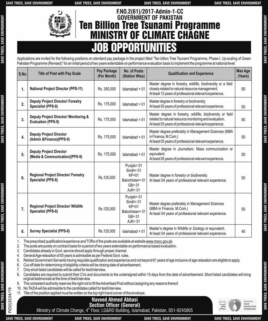 Ten Billion Tree Program in Ministry Of Climate Change Jobs 2020