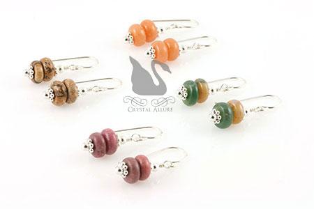 Aventurine Jasper Rhodonite Gemstone Earring Set (E137)