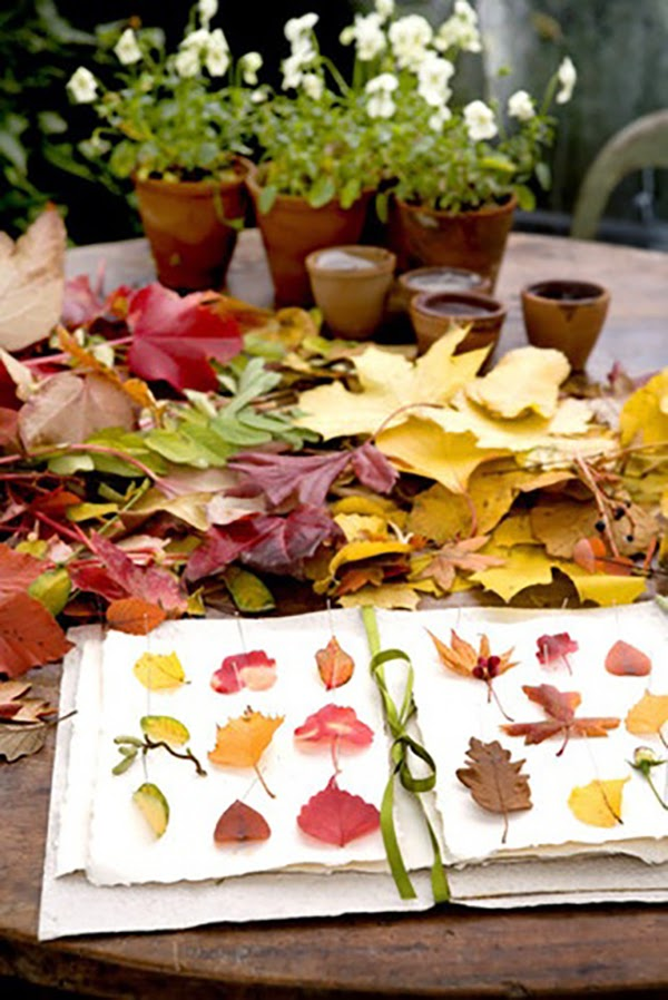 Preserving and pressing autumn leaves @hearthandmadeuk Cut out heart shape in an Autumn/Fall Leaf - Hello October! Come on over and discover 25 things to do this October!! Make Crockpot Cider. This image is a fabulous example of all that is lovely about Fall/Autumn. I love that I live in a world where there are seasons! The red apples and cinnamon sticks are perfect scents for the season.
