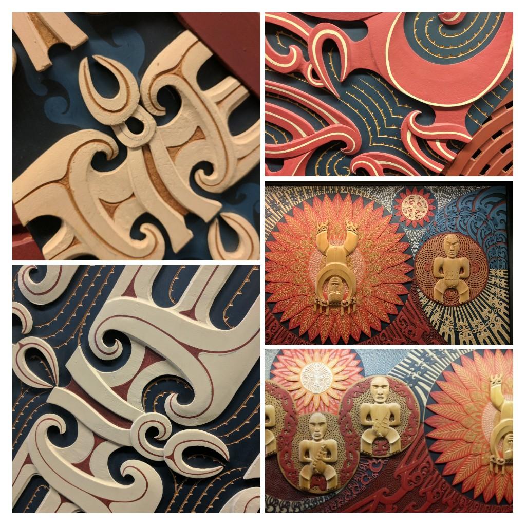 Details from the National Library mural, Te wehenga o Rangi rāua ko Papa