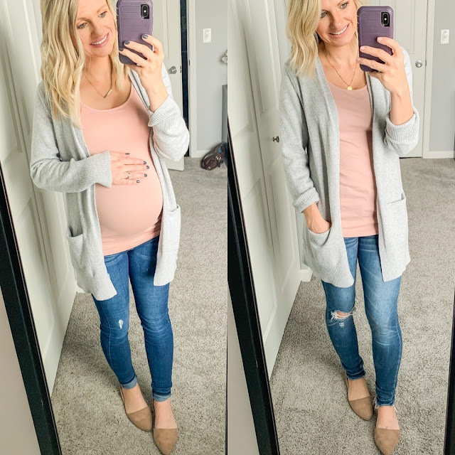 Cardigan and jeans maternity outfit
