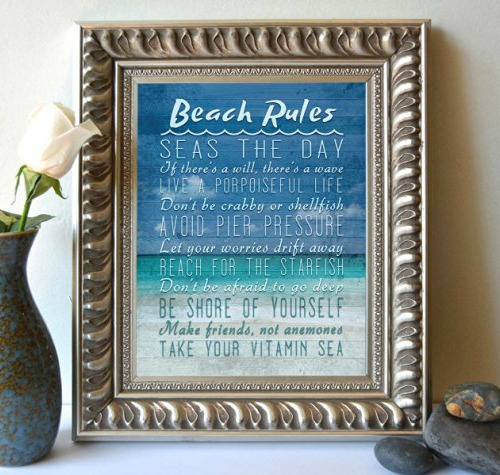 Beach rules for wall decor coastal decor ideas and interior design beach rules print solutioingenieria Gallery