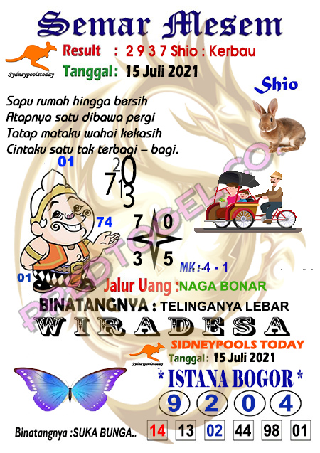 Syair Semar Mesem Sdy Kamis 15 juli 2021