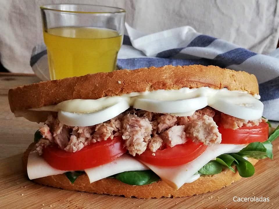 Sándwich vegetal con atún