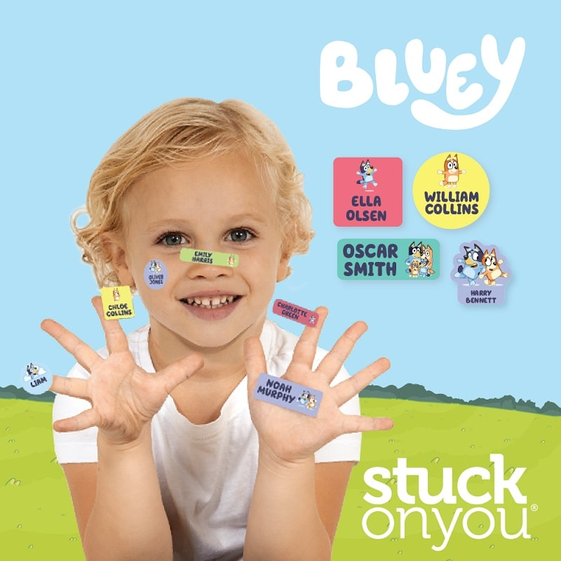 stuck on you bluey school and daycare labels