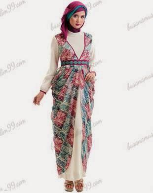 Contoh model busana batik muslim terpopuler