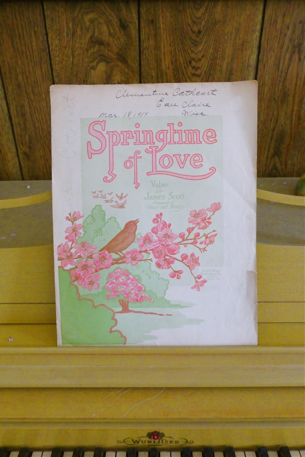 vintage sheet music, Springtime of Love, Springtime of Love waltz, Clementine