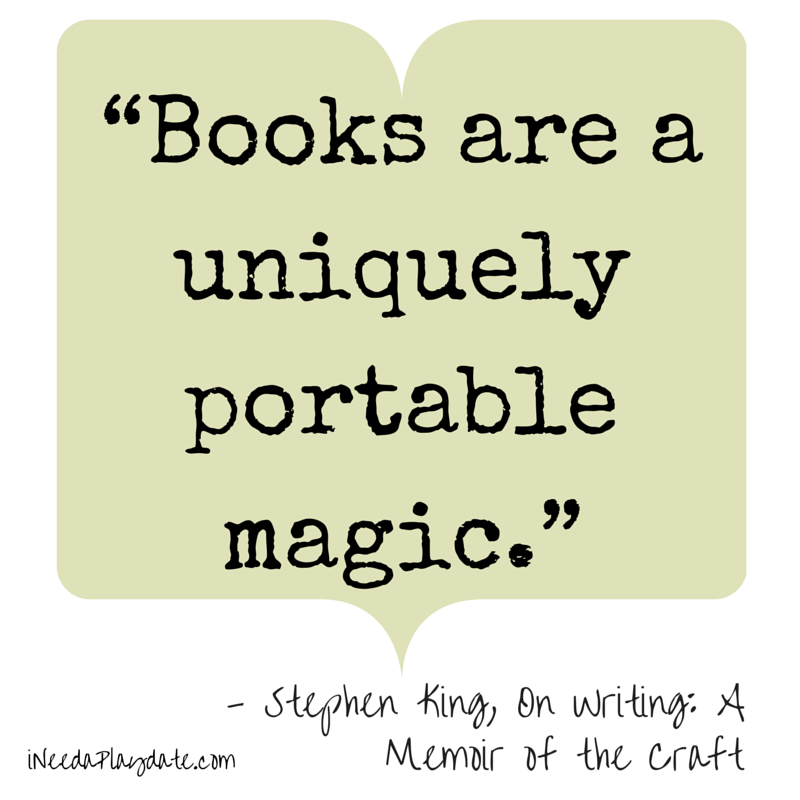 Books are uniquely portable magic - Stephen King  | #atozchallenge #quotes | @mryjhnsn