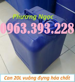 Can nhựa HDPE vuông, can nhựa 20L màu xanh, can đựng hóa chất 20 Lít 12e6b56b799b9fc5c68a