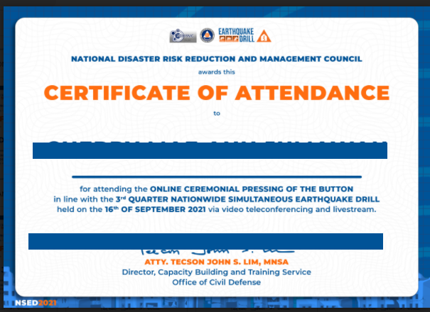 Good News! Certificate for Third Quarter NSED now ready for Download!