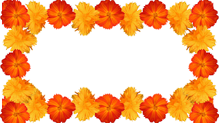 7 Moldura flores amarelas e laranja png