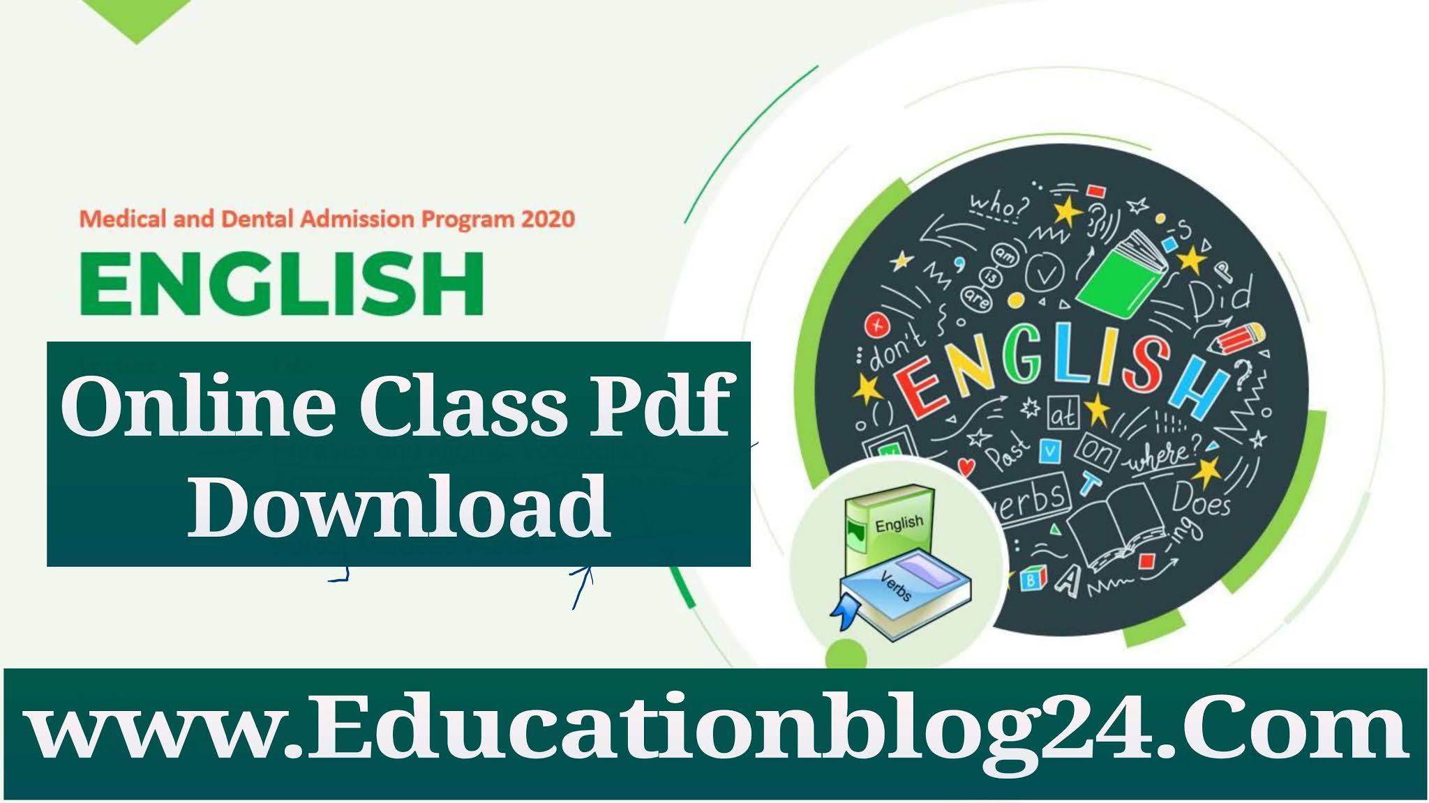 udvash unmesh Online Class-English Pdf Download | উদ্ভাস ইংরেজি লেকচার সিট
