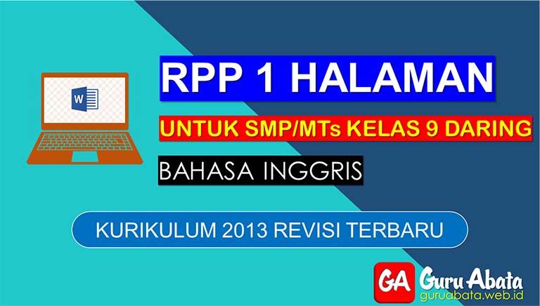 Contoh RPP Daring Bahasa Inggris Untuk SMP Kelas 9 Semester 2