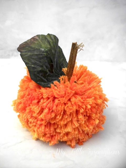 Zucche pom-pom DIY - zucca arancione grande - MLI