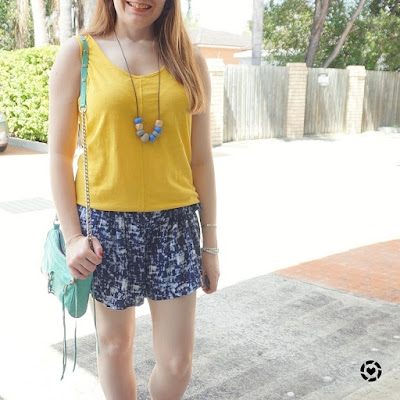 awayfromblue Instagram | yellow and blue summer soft printed shorts outfit