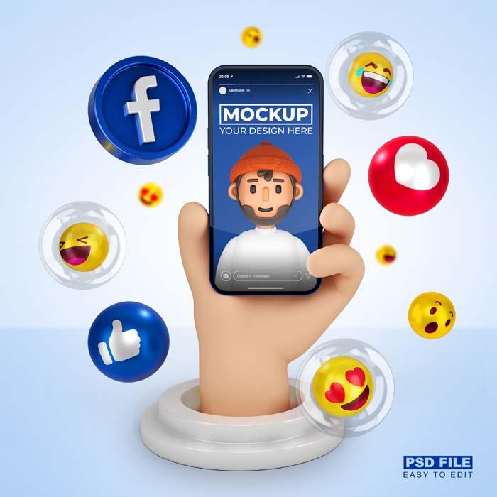 Cute 3D Cartoon Hand With Smartphone 3D Rendering Mockup