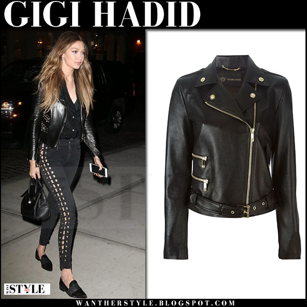 Gigi Hadid in black leather versace jacket, black lace up pants and black flats stuart weitzman the band what she wore
